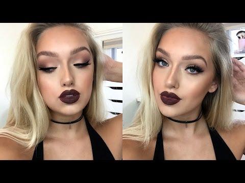 """Instagram """"Baddie"""" Makeup Tutorial- Matte Eyes, Dark Lips + OUTFIT!"""