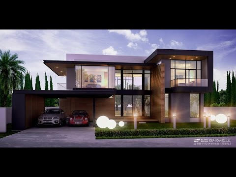Modern Style แบบบ้านสองชั้น ประเภทบ้านเดี่ยว 4ห้องนอน 4ห้องน้ำ แบบบ้านโมเดิร์น by Black-Beam