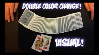 DOUBLE Color Change! Super Visual Card Trick Performance And Tutorial!