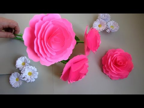 How to Make Realistic Paper Rose Stick. DIY. Paper Craft. Handcraft.