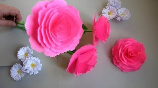 How to Make Realistic Paper Rose Stick. DIY. Paper Craft. Handcraft. w5