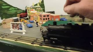 Marx Toy Train Set No. 2504 w/Battery Operated No. 401 Engine on Small Train Layout