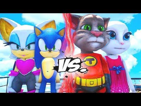 SONIC THE HEDGEHOG AND ROUGE THE BAT VS TALKING TOM AND TALKING ANGELA