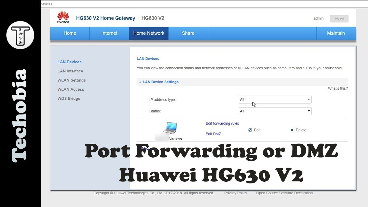 Download How to Port Forward | DMZ for Local Servers in Huawei HG630 V2 - AirtelVDSL Modems
