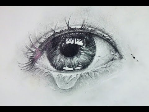 How to draw realistic Eye with teardrop - Easy step by ...