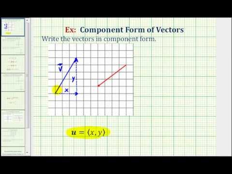 Find the Component Form of a Vector from the Graph of a Vector