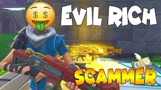 Evil Rich Noob Scammer Scams Himself! 🤑 (Scammer Get Scammed) Fortnite Save The World