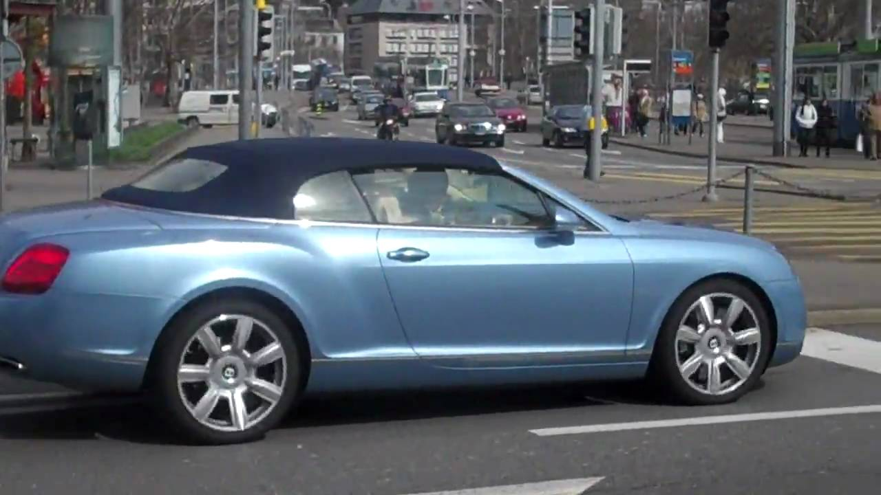 Light Blue Bentley Continental Convertible In Zurich Switzerland You