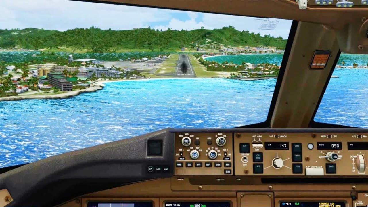 klm boeing 777 landing   st maarten   cockpit     hd