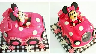 MINNIE in Car Cake. MINNIE cake.  How to carve a Car Cake.  Easy Baking.