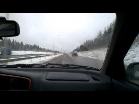 Driving from Imatra to Lappeenranta, Finland