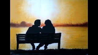 how to draw romantic couple with pastel || sunset scenery paintings step by step