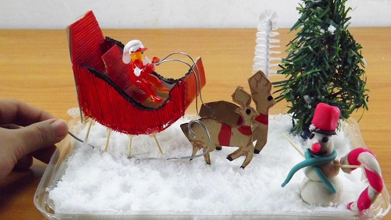 Miniature Snowman And Santa Claus Sleigh With Reindeer Easy Christmas Crafts Ideas