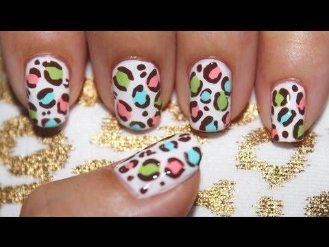 Pastel Leopard Nail Art Youtube