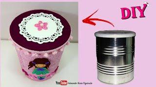 DIY – Lata de leite decorada com Tecido e apliques de EVA