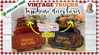 🍂🍃DOLLAR TREE Red Truck Farmhouse Fall DIY || Complete Tutorial on Bows