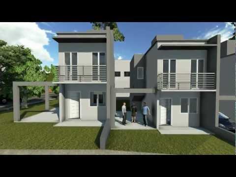 Projetos de casas - Modelo de um sobrado pequeno com dois quartos