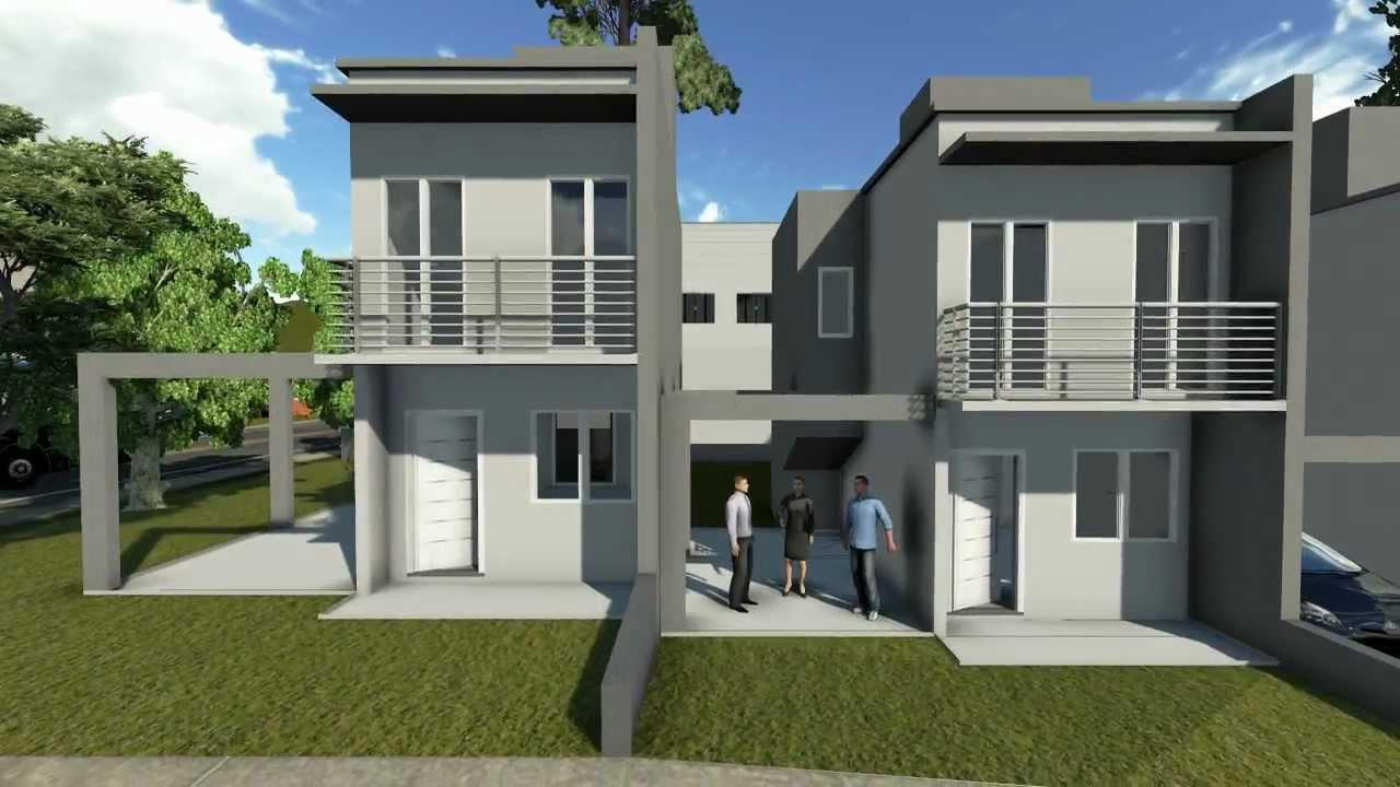 Projetos de casas modelo de um sobrado pequeno com dois for Fachadas para apartamentos pequenos