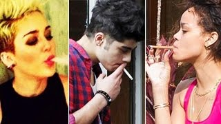Hollywood Celebrities Smoking Caught On Camera - Miley Cyrus, Rihanna, One Direction & More