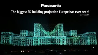 Panasonic projectors turn the facade of the Bucharest Parliament Palace into a 3D display