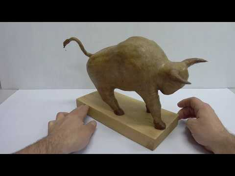 DIY: how to make a simple and easy paper mache bull statue