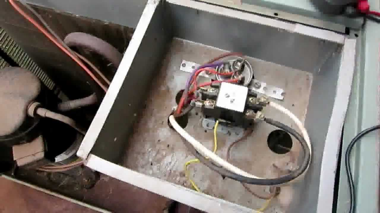 AC not starting up - Air Conditioner condensing unit lost power - Replace  Contact contactor relay - YouTube | Home A C Condenser Relay Wiring |  | YouTube