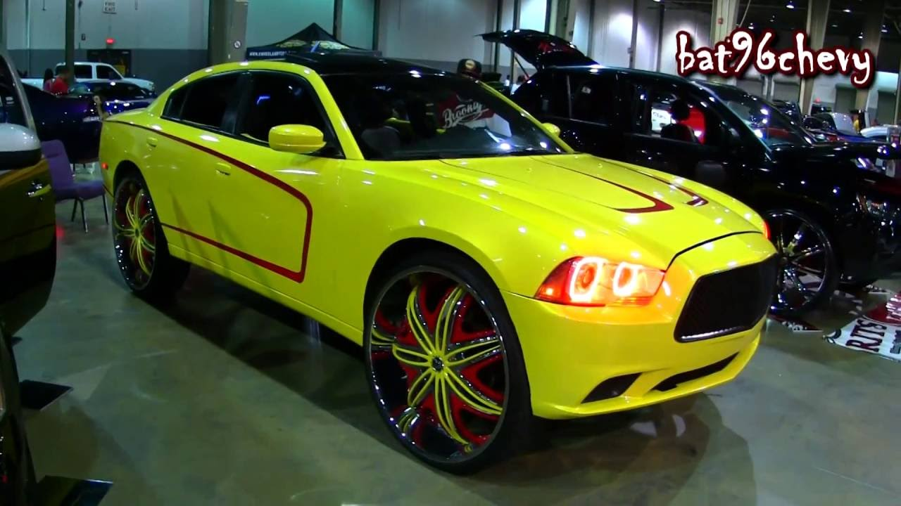 Yellow Red Dodge Charger On 30 Quot Diablo Wheels Custom