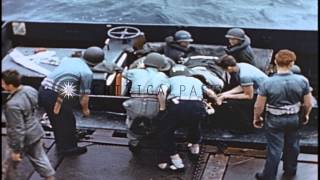 United States Marines 5th Medical Battalion corpsmen load litter wounded onto a b...HD Stock Footage