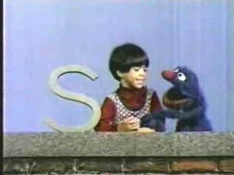 Classic Sesame Street Grover and Debo with letter S