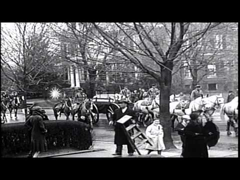 Funeral procession of US President William Taft from his Washington DC home, to t...HD Stock Footage