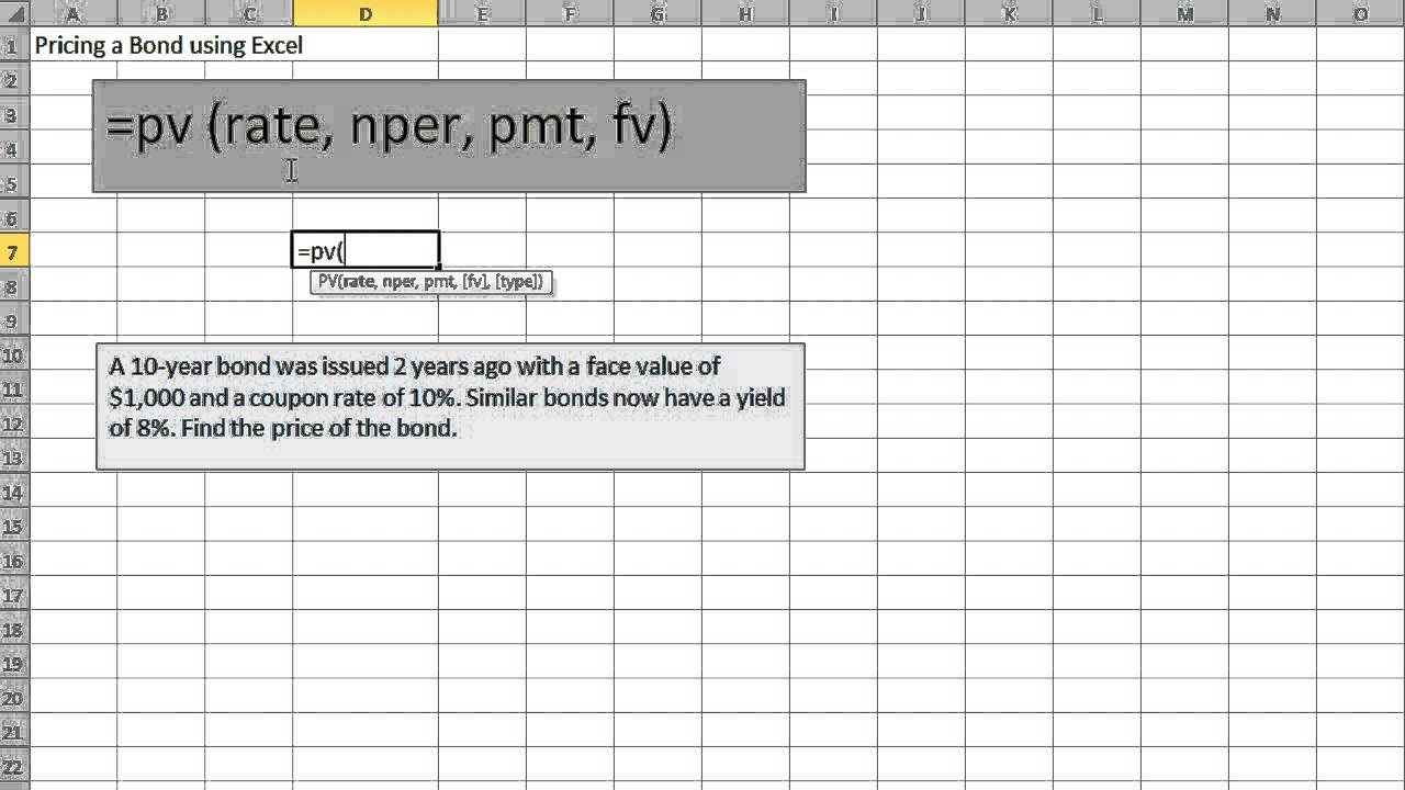 Pricing a Bond using Excel