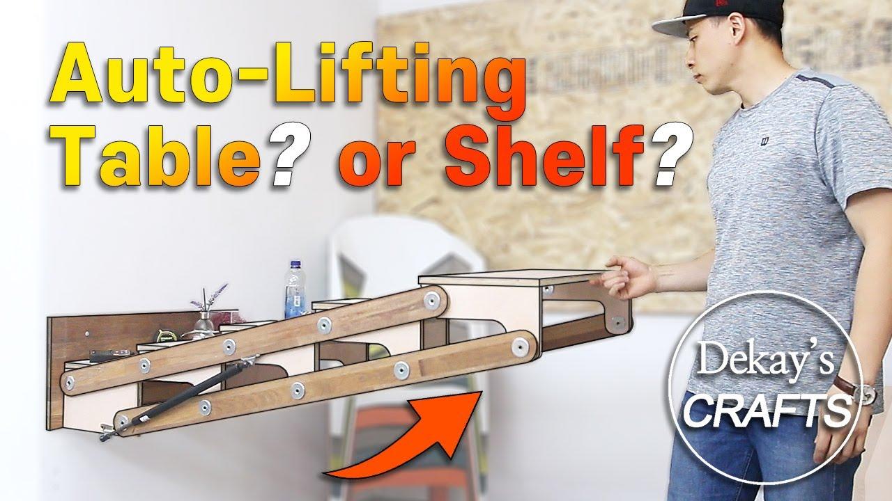 자동으로 접히는 폴딩 테이블 + 책장 수납장 / Auto-lifting : Table & Bookcase Shelf [목공 diy woodworking]