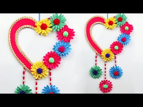 Paper Wall Hanging Craft Ideas | DIY Paper Heart Wall Hanging | Easy Wall Decoration Ideas