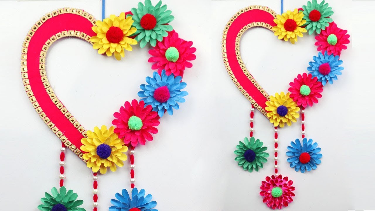Paper Wall Hanging Craft Ideas Diy Paper Heart Wall Hanging Easy Wall Decoration Ideas