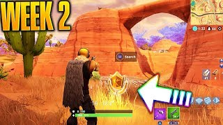 """""""Search Between an Oasis, Rock Archway and Dinosaurs"""" Fortnite Battlestar Location!"""