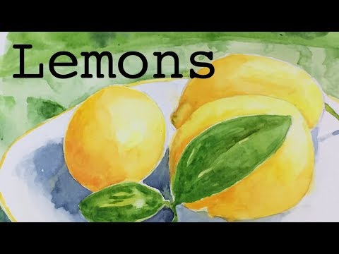 Painting Lemons On A Plate in Watercolor Tutorial How To Watercolour