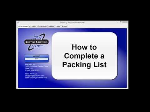Shipping Solutions® Export Software - How to Create a Packing List