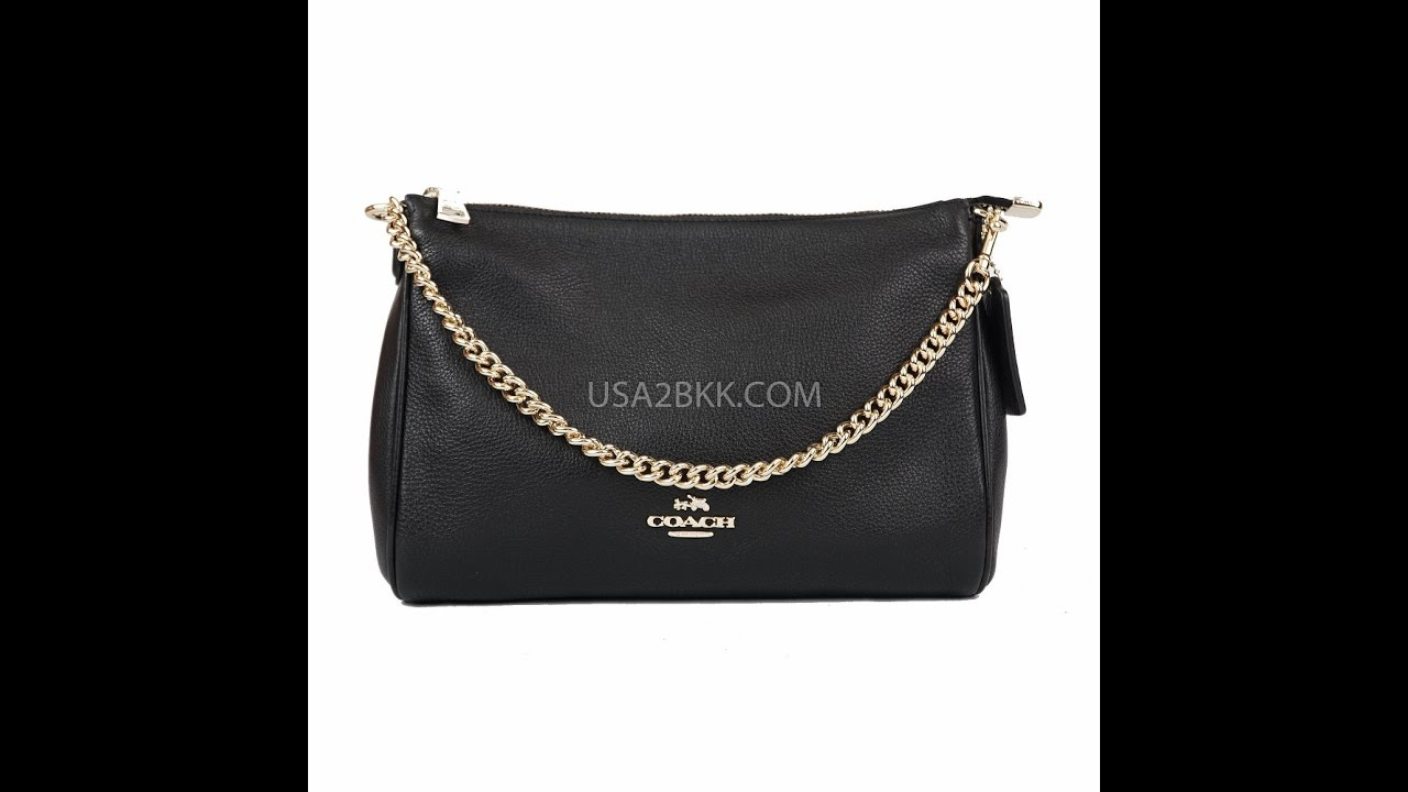 61aa882300728 จำหน่ายกระเป๋า COACH CARRIE CROSSBODY IN PEBBLE LEATHER (GOLD  BLACK)  F36666 BY USA2BKK