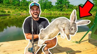 Taking the WORLD'S LARGEST RABBIT Fishing in My BACKYARD POND!!! (NEW PB)