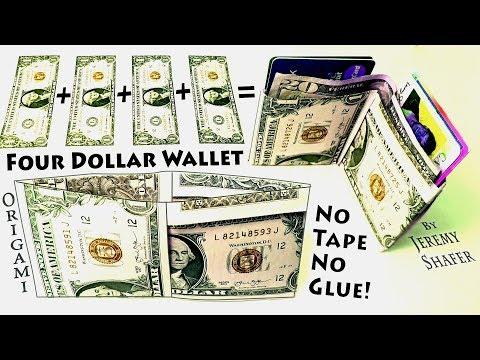 Origami Four Dollar Wallet - NO Tape NO Glue!