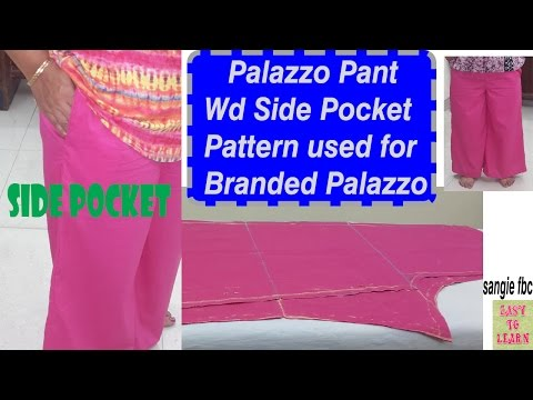 Palazzo Pants With Side Pocket-Cutting&Stitching- Easy tutorial in hindi