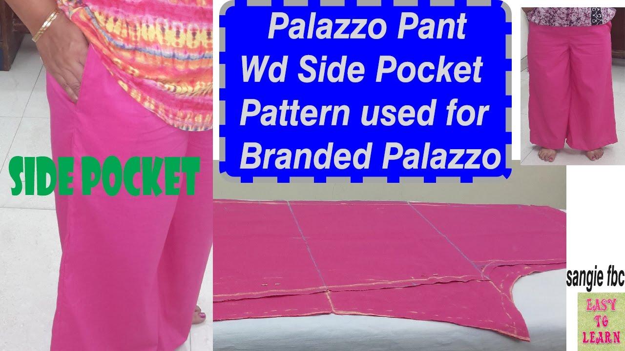 Palazzo Pants With Side Pocket Cutting Stitching Easy Tutorial In
