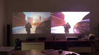 Benq w1070 vs Xiaomi Mi laser projector speed gameplay ps4.