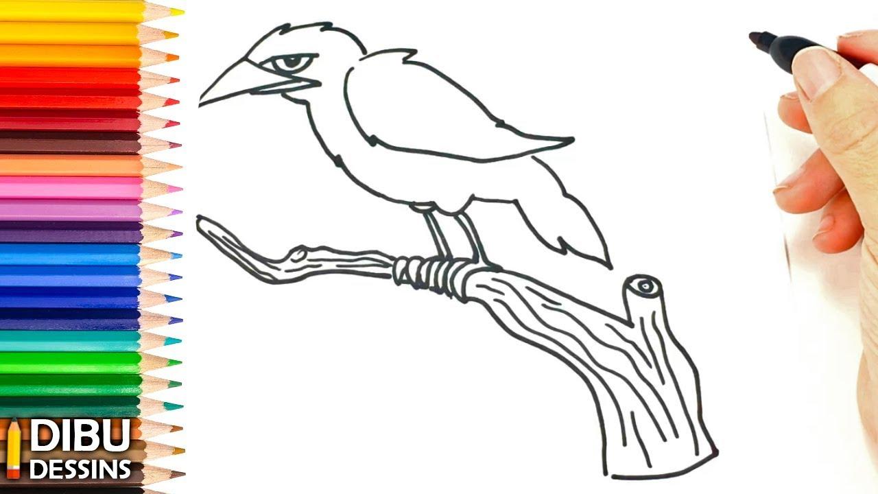 Comment Dessiner Un Corbeau Dessin De Corbeau Youtube