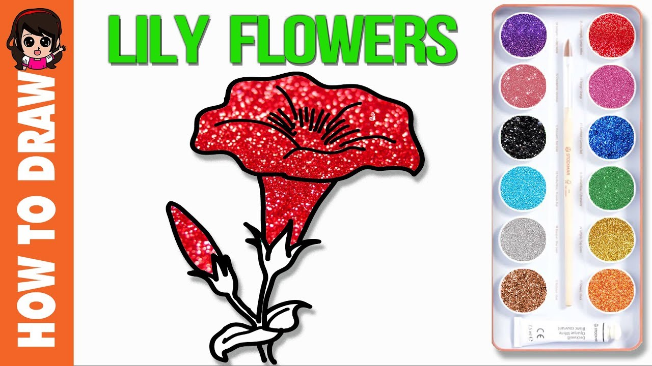 How to Draw Flowers For Kids - How to draw Lily flowers step by step ...