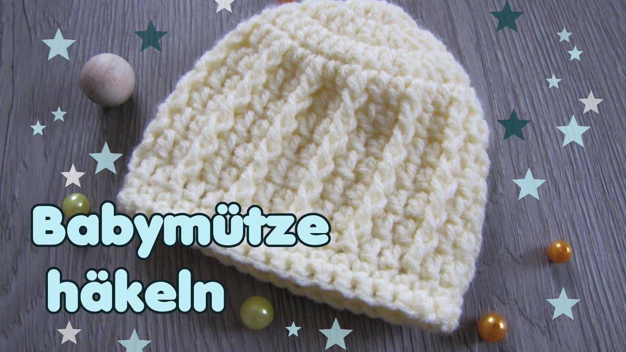 Baby Mütze häkeln - Beanie für Neugeborene (0-3 Monate) - YouTube