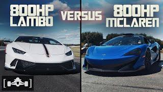Supercharged Lamborghini Huracan vs. DME Tuned McLaren 600LT | 60-150MPH Roll Race