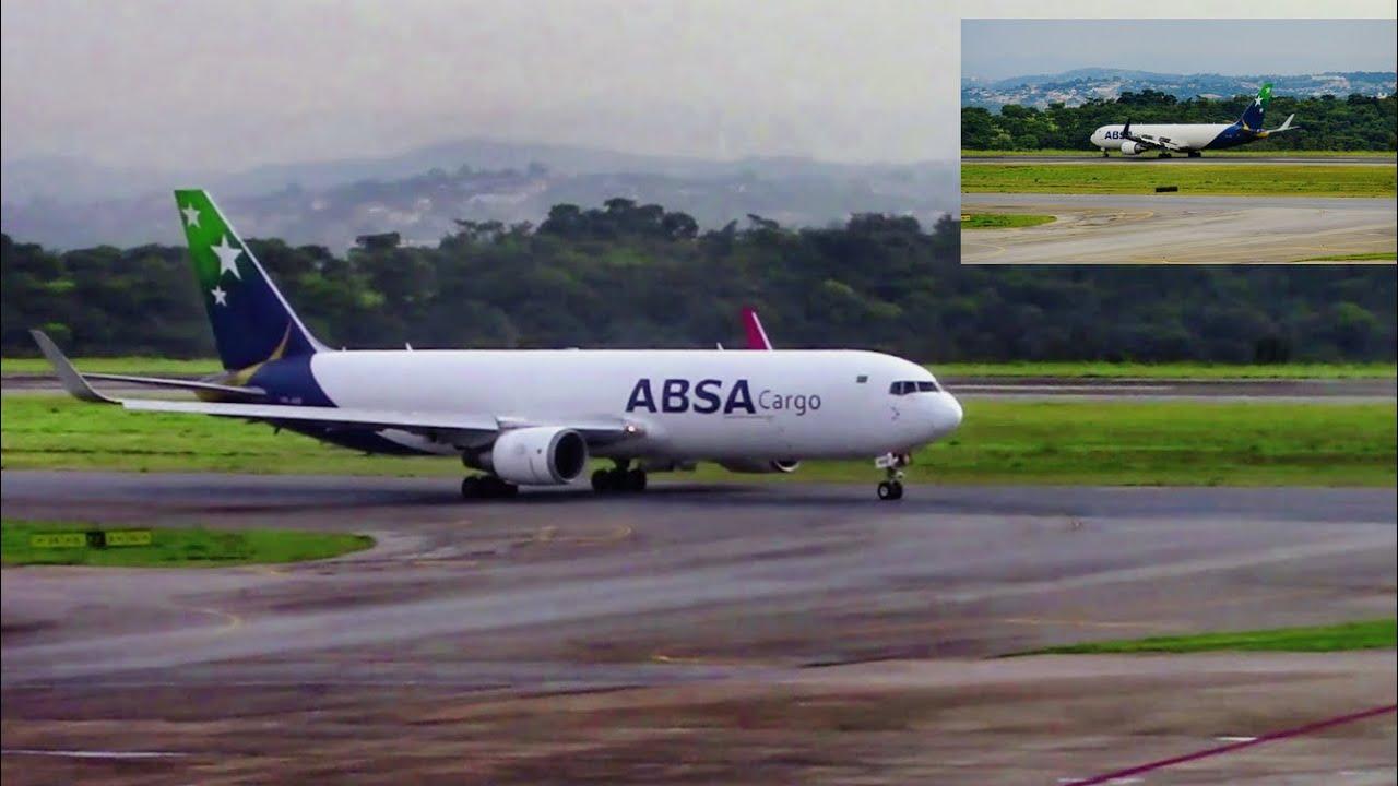 Cargueiro da ABSA, taxiando e decolando de Confins