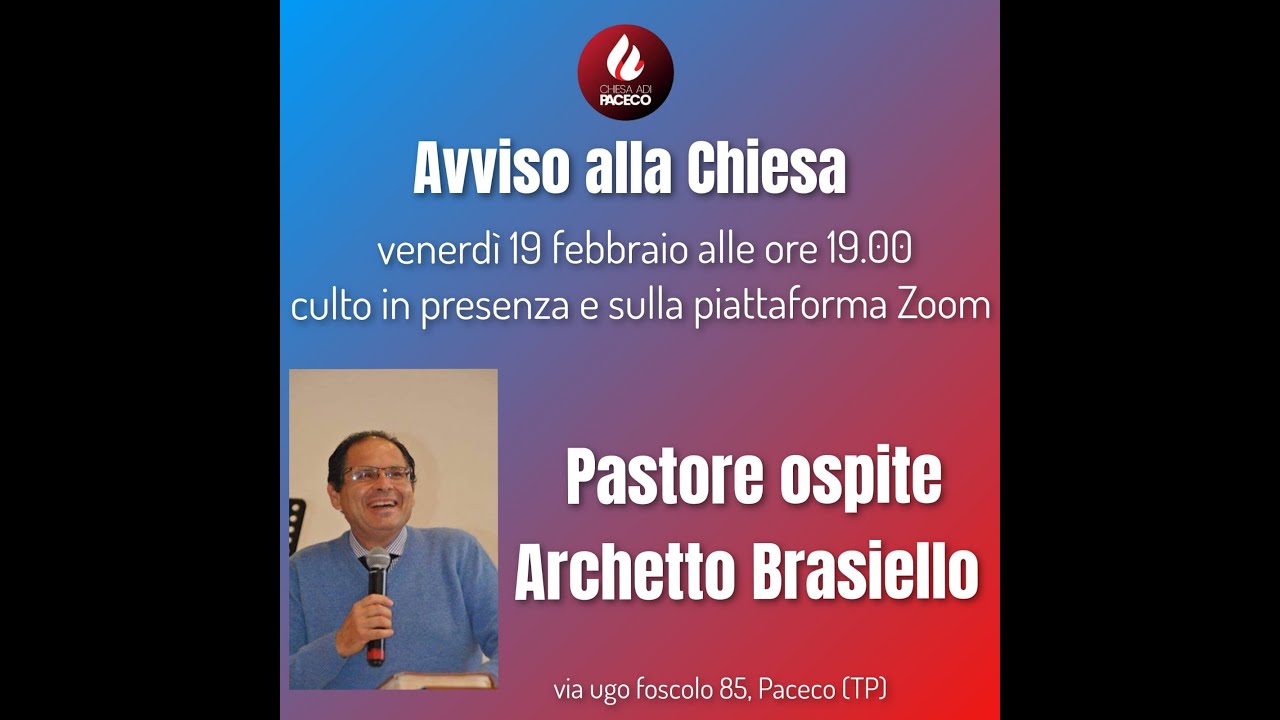 Culto su piattaforma zoom Chiesa ADI Paceco,pastore ospite:Archetto Brasiello Rut 2:8-12