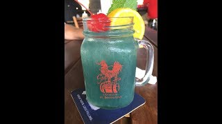 Blue Parrot Tail Drink from the Smoking Rooster in St. Thomas